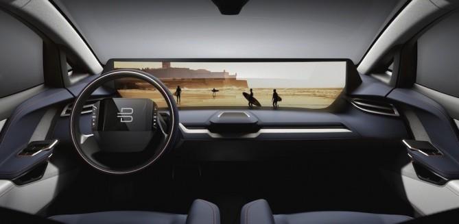 중국 스타트업 바이톤이 CES 2018에서 공개한 전기자동차 내부 - 바이톤 제공